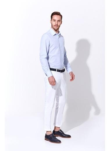 Hemington Açık Mavi Çizgili Pamuk Gömlek Mavi